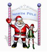 Santa en zijn elf op de noordpool — Stockfoto