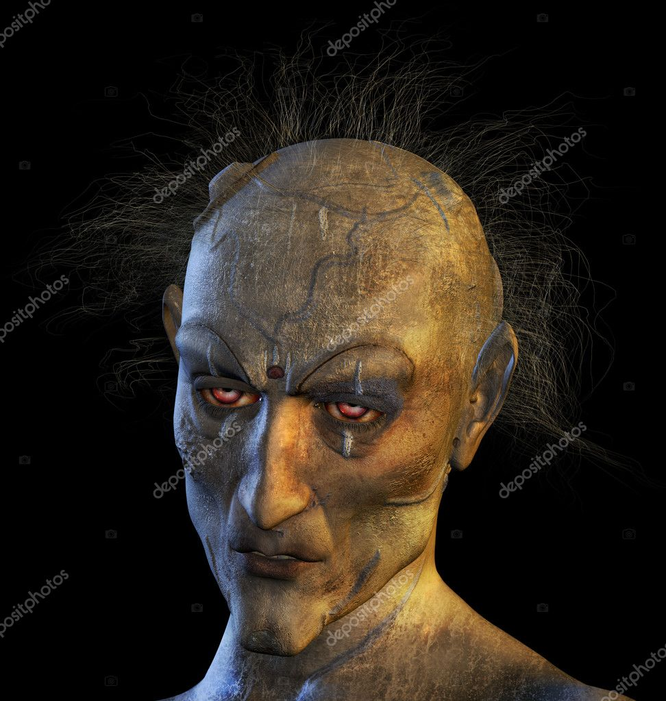 3D rendered portrait of a mutant woman.  Stock Photo #8301345