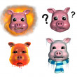 Piggy Emoticons 2 — Stock Photo