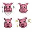 Piggy Emoticons 3 — Stock Photo