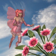 Pink Fairy with Flowers — Stock Photo