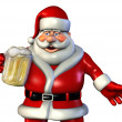 Santa Enjoys a Mug of Beer-2 — Stock Photo