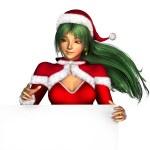 Christmas Girl on Sign Edge — Stock Photo #8311545