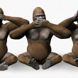 See, Speak, Hear No Evil Gorillas - Stock Photo