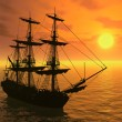 Tall Ship at Sunset — Stock Photo