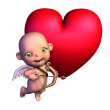 Stock Photo: Cartoon Cupid with Heart