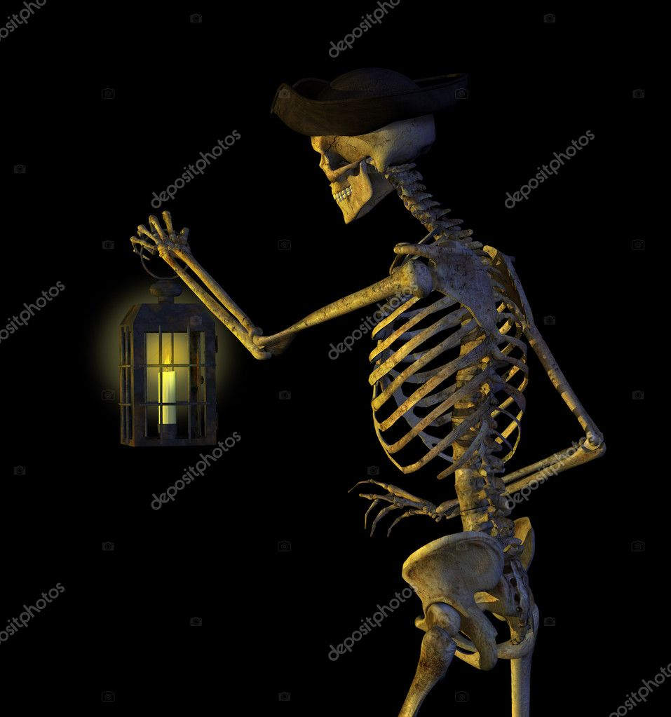 Skeleton Pirate with Lantern - 3D render — Stock Photo #8311592