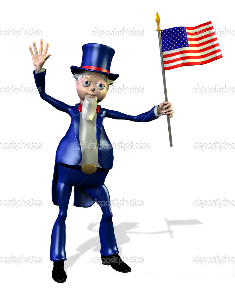 Uncle Sam with US flag - 3D render. — Stock Photo #8311810