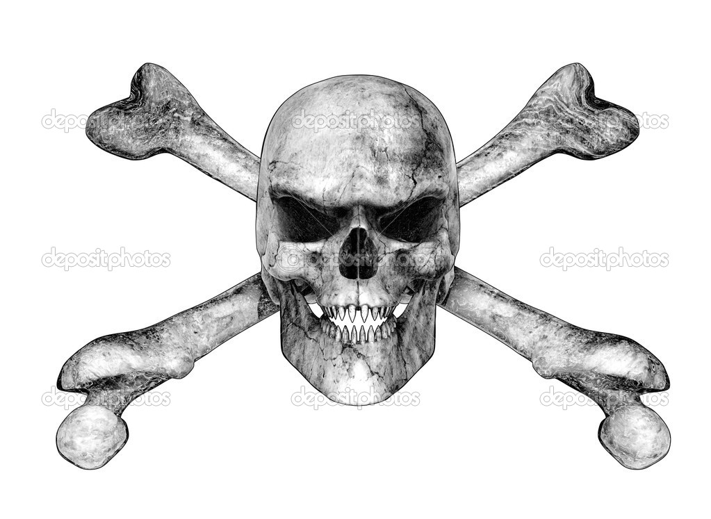 Skull and crossbones with pointed teeth and an evil grin - 3D render ...
