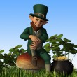 Leprechaun Sitting on Toadstool - Stock Photo