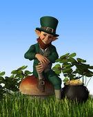 Leprechaun Sitting on Toadstool — Stock Photo