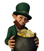 Leprechan Holding a Pot of Gold — Stock Photo