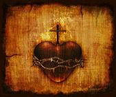 Heilige hart op perkament — Stok fotoğraf
