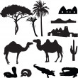 Silhouettes of African desert — Stock Vector