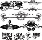 Pattern with a water lily — Stock Vector