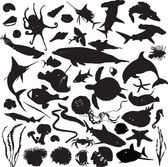 Set of silhouettes of marine inhabitants — Stock Vector