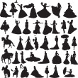 Many silhouettes of brides in different situations and dresses — Stock Vector #10655490