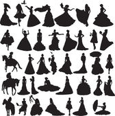 Many silhouettes of brides in different situations and dresses — Stock Vector
