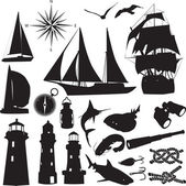 Silhouettes of marine recreation — Stock Vector
