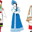 Stock Vector: Women in their national costumes