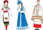 Mujeres con sus trajes nacionales — Vector de stock