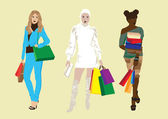Girl with shopping — Stock Vector