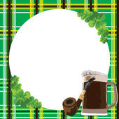 Frame with clover and beer — Stock Vector