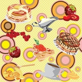 Background with pancakes — Stock Vector