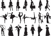 Silhouettes of women of different — Stock Vector