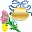 Stockvector : Banner as a pendant and a bouquet of flowers