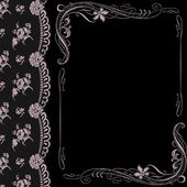 Black background with lace and ornaments — Stock Vector