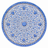 Old Persian pattern on the enameled metal stamped dish. — Stock Photo
