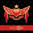 Red Double Wings King Heart - Banner Ribbon — Stock Vector