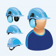 Blue helmet with hadphone - Stock Vector
