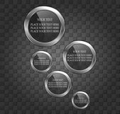Bolle di metallo lucido discorso sullo sfondo muro — Vettoriale Stock