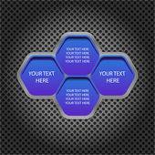Células azules de texto sobre el fondo de metal — Vector de stock