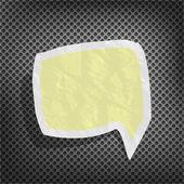 Bocadillo de diálogo roto papel amarillo viejo sobre una superficie metálica — Vector de stock