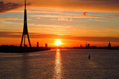 Sunset ower Riga city — Stock Photo
