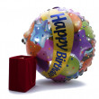 Velvet gift box with a celebratory ball — Stock Photo