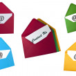 Stock Photo: Set of email symbol and contact us card in envelope