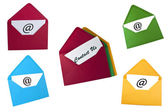 Set of email symbol and contact us card in envelope — Stock Photo