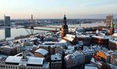 Staré město riga letecký pohled od svatého petra kostel — Stock fotografie
