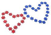 Iki kırmızı ve mavi kalp — Stok fotoğraf