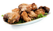 Fried chicken on the plate — Stock Photo