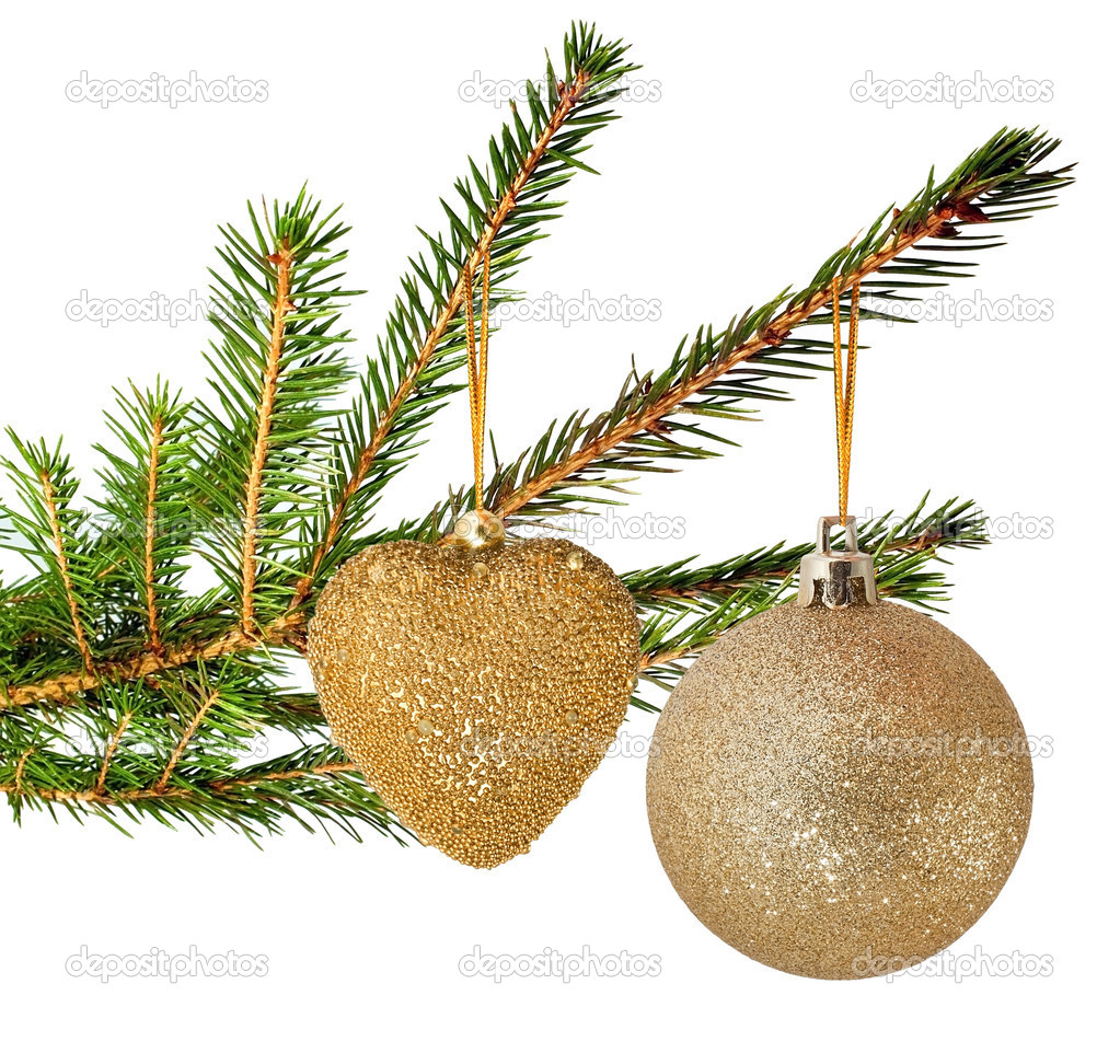 Fur tree branch with christmas ball — Stock Photo #8331852