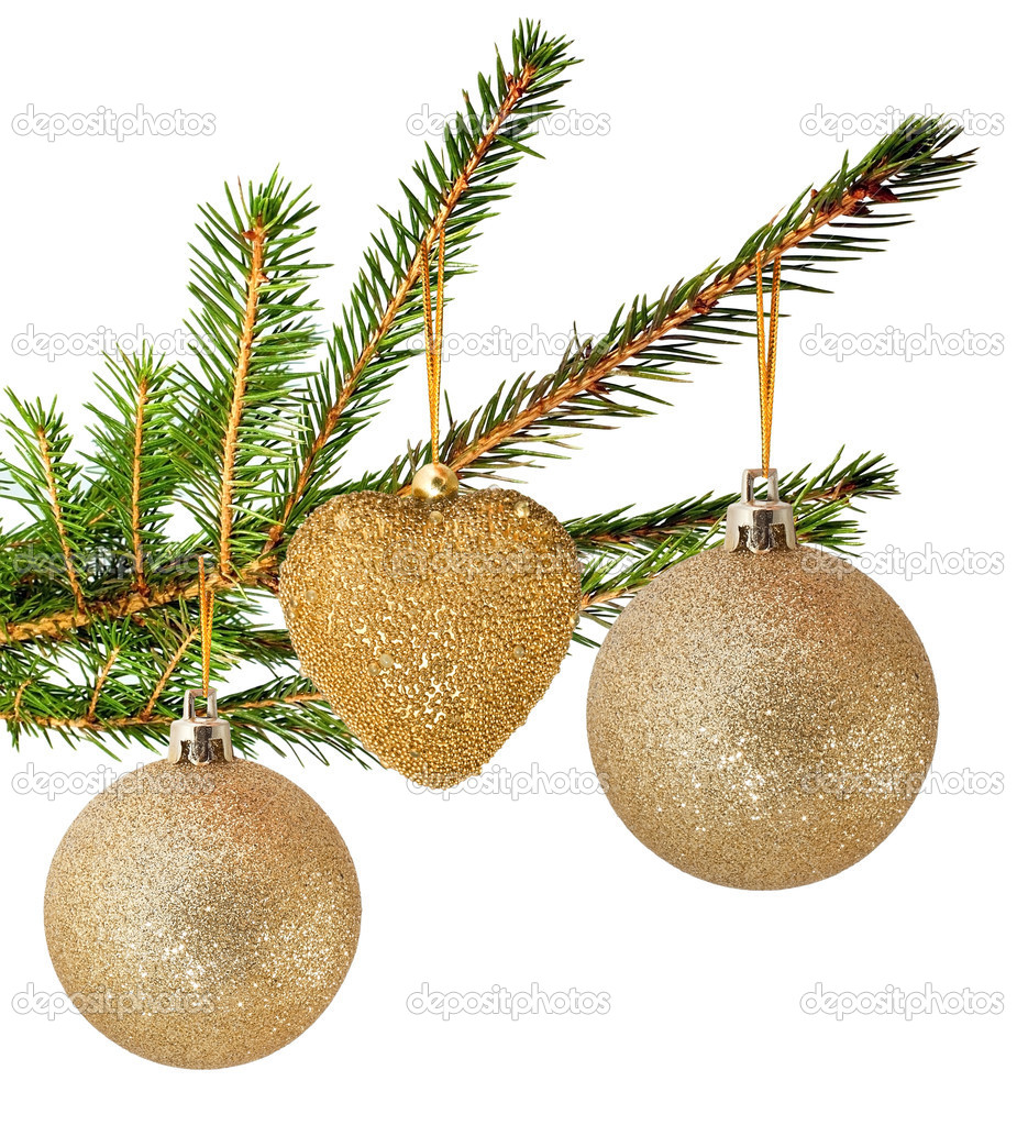 Fur tree branch iwith christmas ball — Stockfoto #8331854