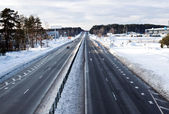 Highway in winter in Eastern Europe — Stok fotoğraf