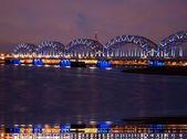 The railway bridge in Riga — Stock Photo