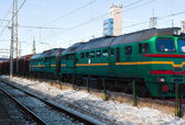 Diesel locomotive with cargo — Foto de Stock
