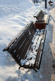 Benches in winter park — Stock Photo